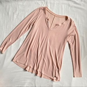 Hollister pink long sleeve v neck top small